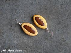 Boucle d'oreille biscuit au chocolat en fimo Argent 925 : Boucles d'oreille par jl-bijoux-creation