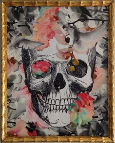 Original artwork made using the decoupage technique with reproduced stock images from XIX century engravings and floral cutouts.  Memento Mori theme,