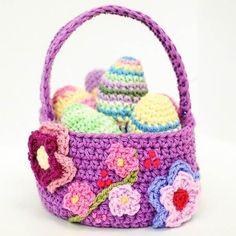 confira a receita de cesta de ovos de páscoa e tenha acesso a + de 30 receitas de amigurumi de páscoa. Easter Egg Pattern, Easter Crochet Patterns, Crochet Basket Pattern, Crochet Patterns For Beginners, Crochet Ideas, Crochet Baskets, Crochet Crafts, Crochet Projects, Boyfriend Crafts