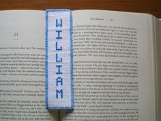 Hand sewn bookmark William German name birthday gift graduation baptism cross stitch white blue by Allisonscsc on Etsy