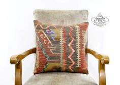 18 Turkish Tribal Kilim Pillow Nomadic by AnatoliaCollection