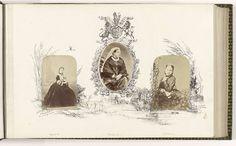 Portret van koningin Victoria omzoomd door tekening van wapenschild en Engels landschap, anoniem, ca. 1870 - ca. 1875