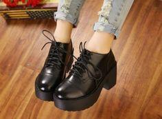 LADIES HIGH PLATFORM CUT CHUNKY HEELS WOMENS PUNK RETRO FLAT CREEPER SHOES BOOTS