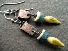 TALL TALES- copper sterling silver apatite glass organic rustic earrings () by livewirejewelrysb - handmade - jewelry - jewellery - artisan - etsy