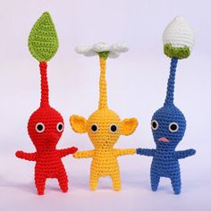 Pikmin crochet pattern... my 6 year old LOVES these little dudes!