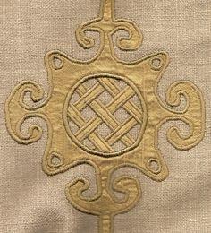 Appliqued silk on linen pillow (detail)