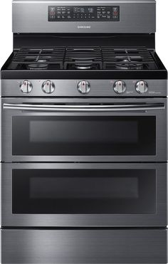 Samsung 30 Inch Freestanding Gas Range with cu. Oven Capacity, Flex Duo convection fans, Soft Close Dual oven door, Self-cleaning and Wi-Fi Connection in Black Stainless Steel