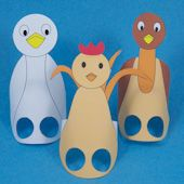 Craft project: Make finger puppets that are animated with your two fingers. Includes printable patterns for crow, emu and chicken finger puppets and a play using the puppets based on an Australian Aboriginal fable.