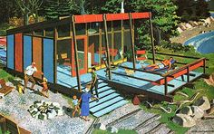 50's beach house - 'Second Homes for Leisure Living'  I especially like grandpa dancing near the fire pit