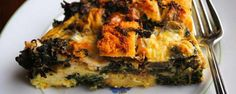 The Ultimate Breakfast for Dinner:Sausage and Spinach Egg Strata.