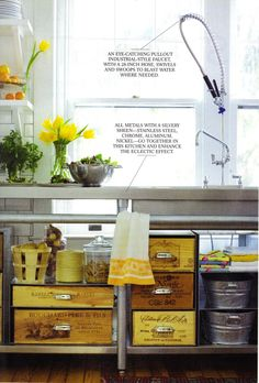 industrial, stainless steel sink console, open storage | cambria style