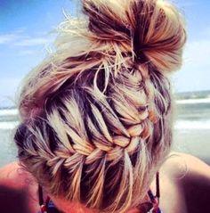 french braids, blond, at the beach, messy buns, summertime, hair looks, beach styles, summer hairstyles, beach hair