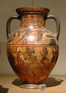 Etruscan Diomedes and Polyxena. Side B from an Etruscan amphora of the Pontic group, ca. 540–530 BC. From Vulci.  Current location Louvre Museum  Department of Greek, Etruscan and Roman Antiquities, Denon, ground floor, room 19