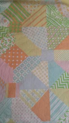 Vtg Mohawk Full/Double FLAT Sheet Patchwork Quilt Look Pastel Multi Pattern AsIs