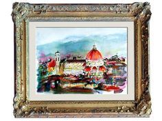 Florence Italy Cathedral of Saint Mary of the Flower Basilica Expressive Watercolor Original