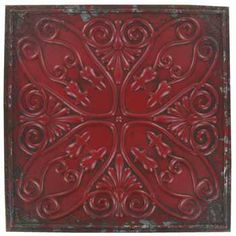Distressed Red Distressed Embossed Metal Wall Plaque