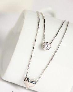 925 Sterling Silver  CZ Diamond Love Heart Necklace