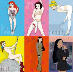 All the princesses as miley cyrus