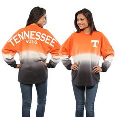 Tennessee Volunteers Women's Tenn Orange Ombre Long Sleeve Dip-Dyed Spirit Jersey is available now at FansEdge. College Football, Tennessee Volunteers Football, Tennessee Football, University Of Tennessee, Tennesse Volunteers, Tennessee Game, Tennessee Vacation, Spirit Jersey, Tennessee Girls