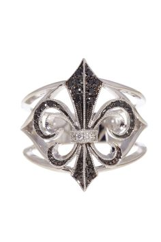 Rhonda Faber Green  18K White Gold and Diamond Cut Out Fleur De Lis Ring  $910.00