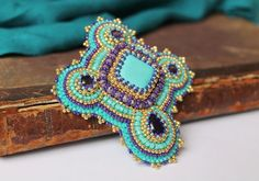 Turquoise Brooch Embroidery Brooch Purple Gold by MisPearlBerry