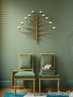 A 1950s Italian candelabra. Design: Benjamin Dhong. Photo: Lisa Romerein. housebeautiful.com. #candelabra #lighting #green