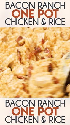 Bacon Ranch One Pot Chicken and Rice – The easiest and most flavorful chicken and rice recipe ever! Packed full of juicy chicken, crisp bacon, ranch, rice, and gooey cheese! dinner no cheese Bacon Ranch One Pot Chicken and Rice New Recipes, Crockpot Recipes, Soup Recipes, Favorite Recipes, Potato Recipes, Recipes With Bacon Dinner, Slow Cooker Rice Recipes, Hamburger And Rice Recipes, Recipes With Velveeta Cheese