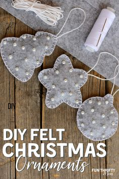 Today we are making DIY felt Christmas ornaments using only felt, a few beads, some thread and out free printable ornament template. These little felt Christmas ornaments are so easy to make yourself, but look Sewn Christmas Ornaments, Christmas Crafts To Sell, Handmade Christmas Decorations, Noel Christmas, Holiday Crafts, Rustic Homemade Christmas Ornaments, Ornaments Ideas, Rustic Christmas, Felt Christmas Trees