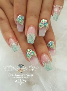 you should stay updated with latest nail art designs, nail colors, acrylic nails. Orange Nail Designs, 3d Nail Designs, Acrylic Nail Designs, Summer Acrylic Nails, Spring Nails, Summer Nails, 3d Nails, Cute Nails, Coffin Nails