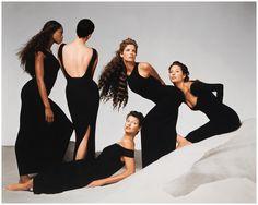 Naomi Campbell, Kristen McMenamy, Linda Evangelista, Stephanie Seymour, and Christy Turlington, Versace Spring:Summer 1993 campaign, New York, November 1992 Photo Richard Avedon