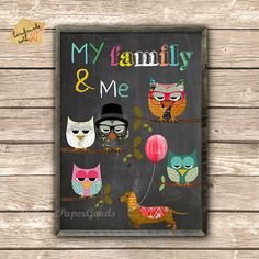 Me and my family  collage poster print - typography on chalkboard background on Etsy, $14.00