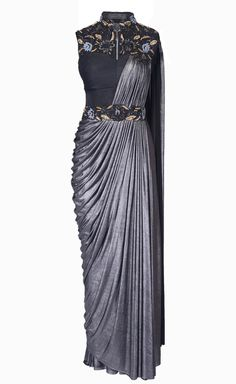 draped cocktail gown sari, grey, black, concept saree , pre draped, stitched, offbeat, edgy, modern