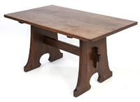 """L & J. G. Stickley """"Mousehole""""Trestle Table with keyed middle stretcher.  29"""" H. x 54"""" W. x32"""" D"""