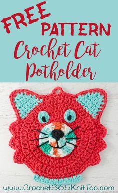 Cute crochet cat potholder pattern! Love this!