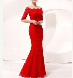 Red Lace bridal gown / Mermaid wedding dress / by Swarovski169, $169.00