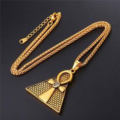 Ankh Ancient Pyramid Egyptian Cross Pendant & Chain Necklace
