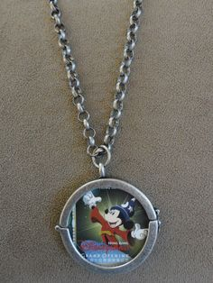 Hong Kong Disneyland Opening Day Stamp Sorcerer Mickey Mouse Pendant with Chain (reversible locket)