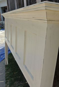 5 Panel Old Door Headboard - Popcorn White and Chelsea Gray Distressed