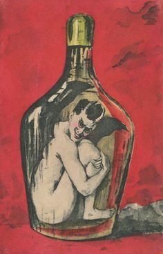 NUDE KRAMPUS OR DEVIL IN BOTTLE ~ FINE OLD postcard