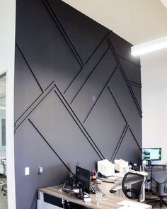 Its time to relax and recover from our week but I think Id be excited to go to work after we finished this office space wall. Office Wall Design, Wall Panel Design, Office Walls, Wood Accents, Deco Design, Home Remodeling, Bedroom Decor, Master Bedroom, New Homes