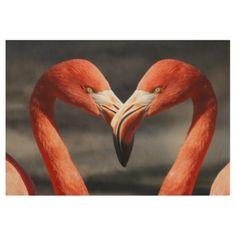 flamingo love wood poster saint valentines day gift idea couple love girlfriend boyfriend design