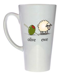 Everyone needs a greenish-brown female sheep in their life. Technicam notitia (the technical bits) - Mug holds 17oz / 500ml of your favorite hot or cold beverage. - White exterior and interior. - Lead