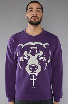 The Oversize Adder Crewneck in Purple and Grey by Mishka