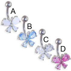Jeweled belly button ring with pretty butterfly.  #piercing #piercingjewelry…