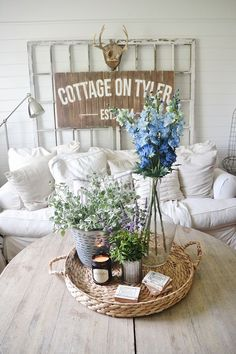 All kinds of simple and inexpensive summer decorating ideas to bring that easy breezy feeling indoors...