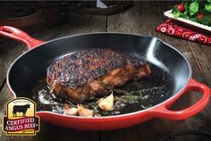 Classic Pan-Seared Ribeye Steak Recipe Provided By Certified Angus Beef ® - love the Le Creuset pan!