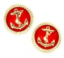 red anchor post earrings:  at www.jojiboutique.com - always FREE U.S. Shipping