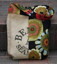 Cute bag! vintage seed bag meets modern fabric! by elizabeth