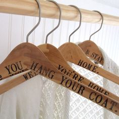 DIY Personalized Wood Hangers - Driven by Decor Personalized Hangers, Driven By Decor, Do It Yourself Wedding, Wedding Hangers, Idee Diy, Glass Boxes, Coat Hanger, Coat Racks, Home And Deco