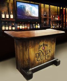 SOLD Wood Jim Beam Devilu0027s Cut Whiskey Home Bar Rustic Pub Man Cave Barrel